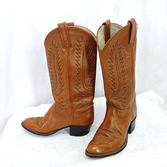 Vintage 80s Dan Post cowboy roper boots size 6 12 womens