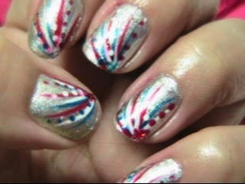 Easy Fourth Of July Nails Youtube Patriotic Nail Design Silver