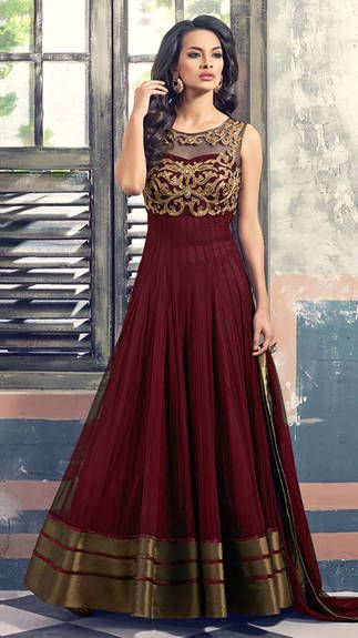 a0fda2e472 Buy Mert India Designer Coper Maroon Gown (premium Quality ) online, Latest Mert  India Designer Coper Maroon Gown (premium Quality ) by Pratibha Sarees ...