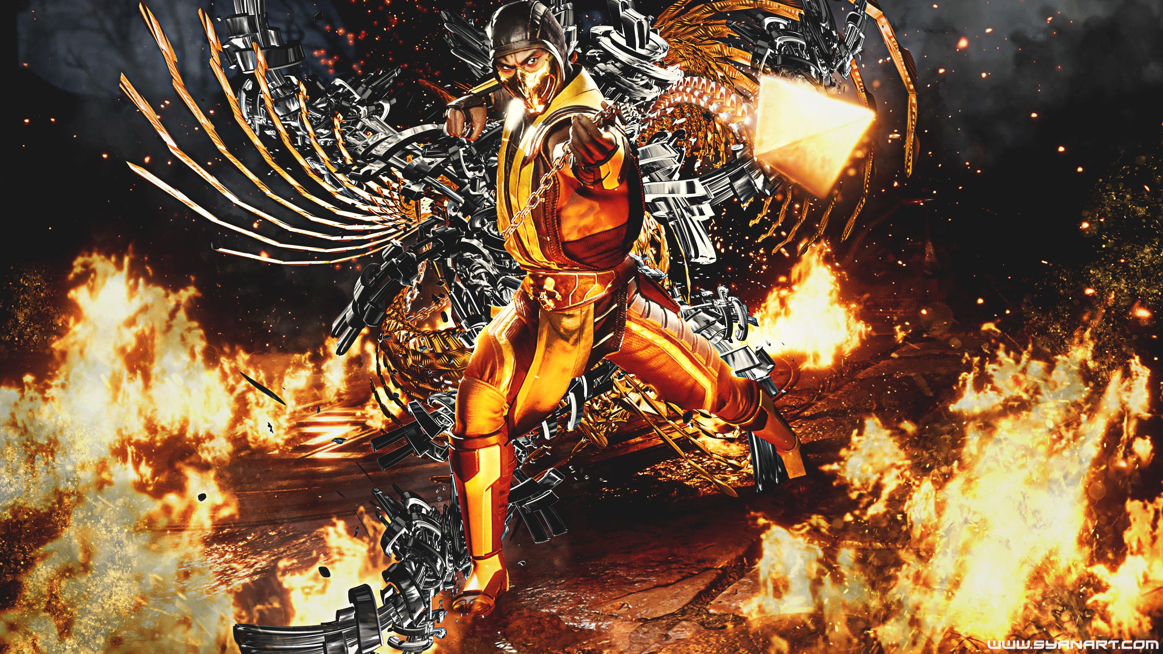 Mortal Kombat 11 Classic Scorpion 4k Wallpaper Mortal Kombat Gaming Wallpapers Best Gaming Wallpapers