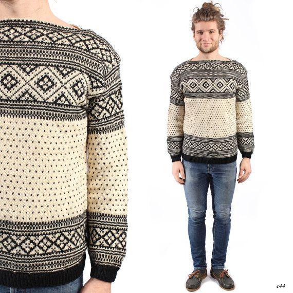 Fair Isle Sweater . Mens Wool Jumper . 1960s Nordic Pullover ...