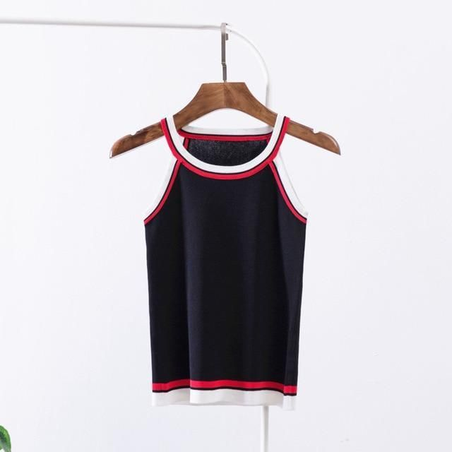 6503c84c1be 2018 New Simple Solid Tank Top Women Sexy Stiped Neck Summer ...