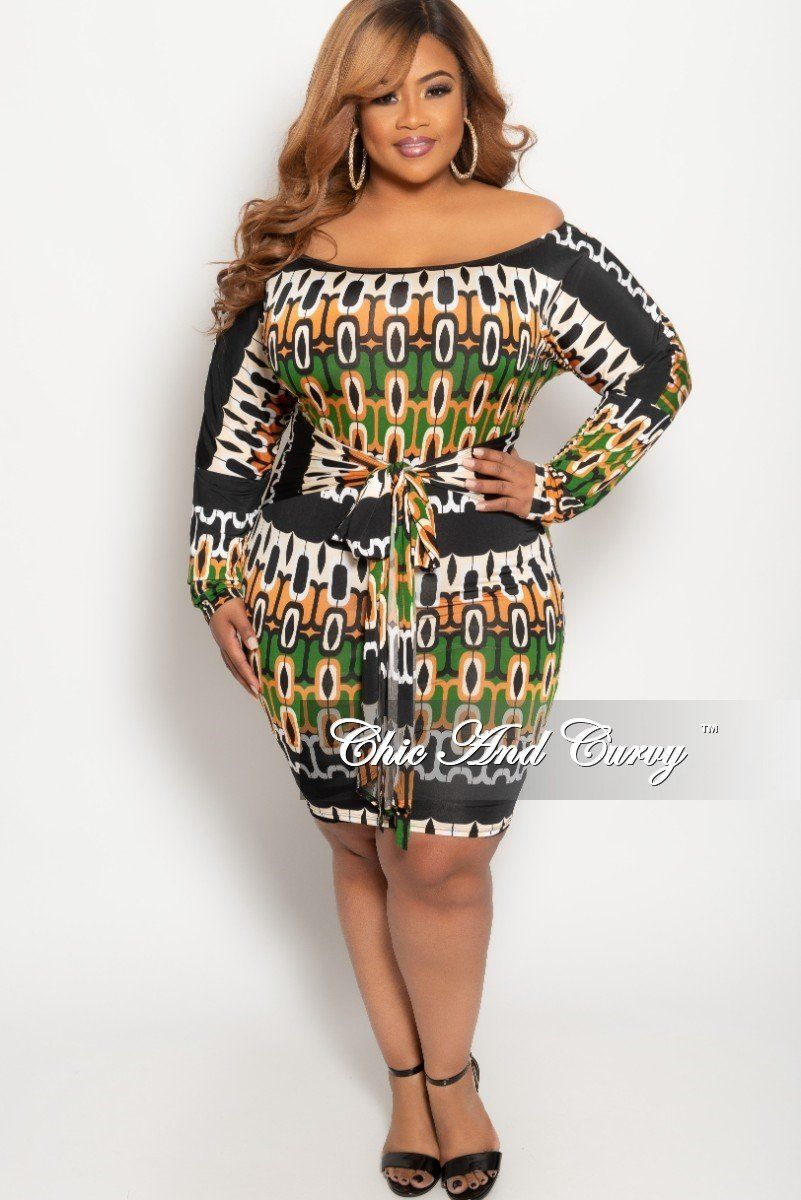 8ea0a197122 Plus Size Off the Shoulder BodyCon Dress in Green Rust Beige Black – Chic  And Curvy