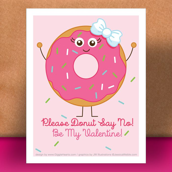 Valentine Freebie  Donut Themed Valentineu0027s Day Card to Download - valentines day cards