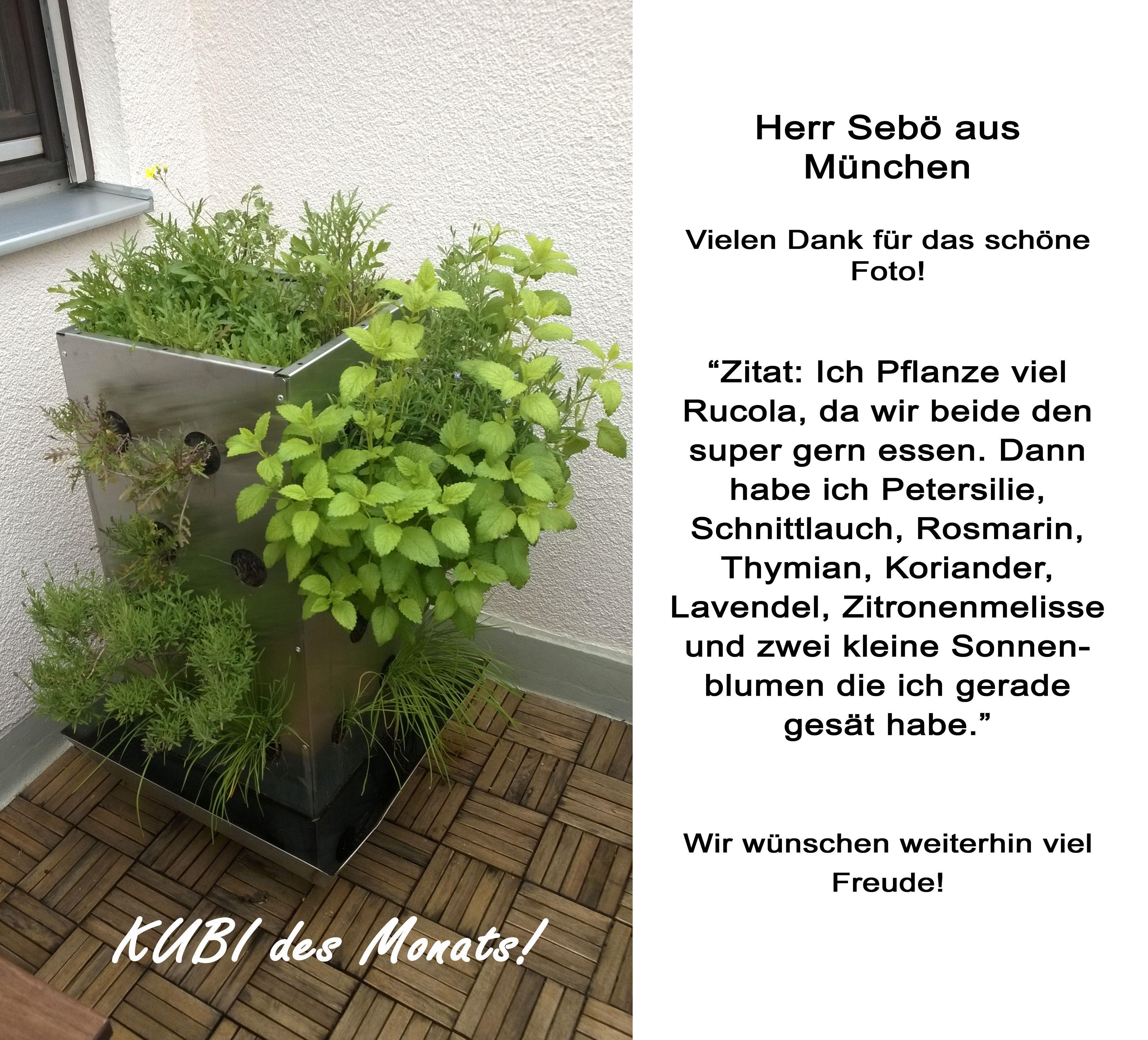 KUBI ein vertikales Hochbeet für Balkon und Terrasse Mit integriertem Kompostiersystem und Wasserspeicher Ein ganzer Garten auf 1m²