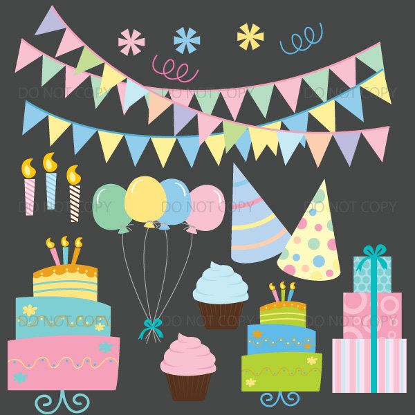 Party Clipart birthday cake bunting birthday party clip art