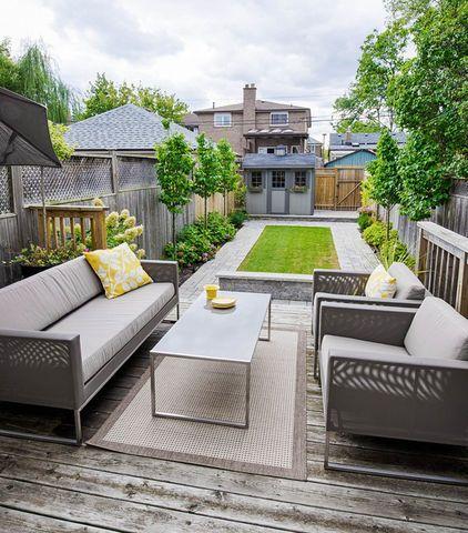A Backyard That Showcase A Nice Long Rectangular Patch Of Well