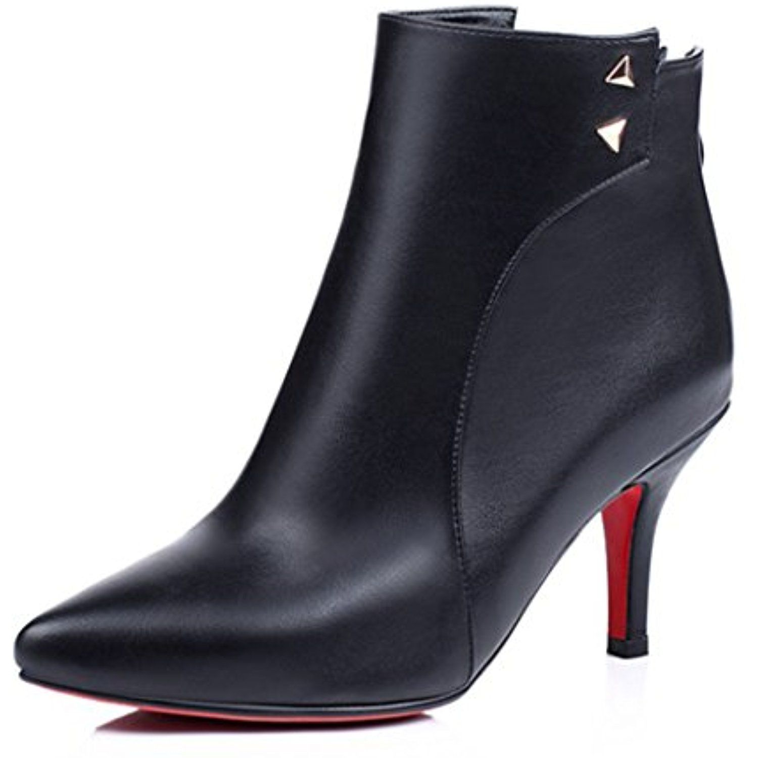 Women's Elegant Pointed Toe Back Zipper Dress Stiletto Kitten Heel Booties Ankle Boots Shoes