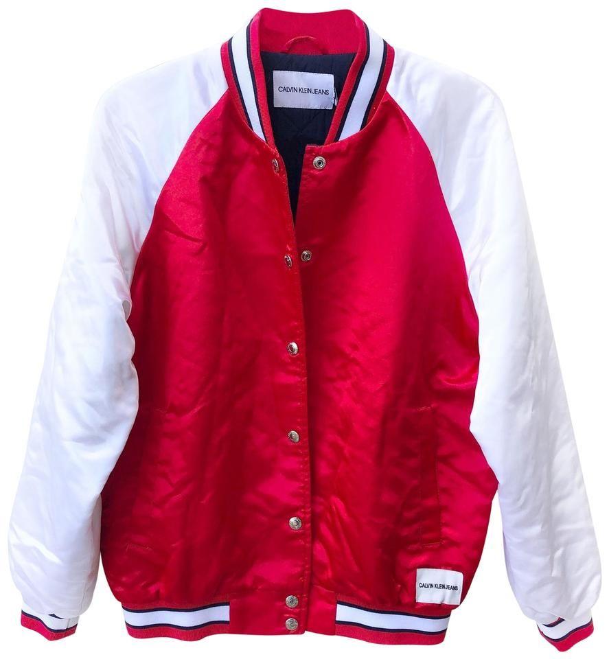 Calvin Klein Varsity Jacket Size 10 M In 2021 Red Bomber Jacket White Bomber Jacket Jackets [ 960 x 887 Pixel ]