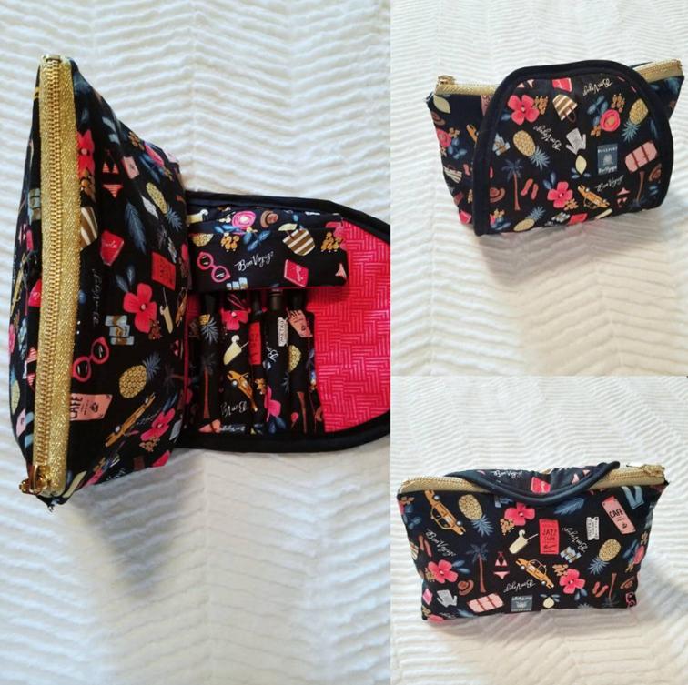 5809e88471 Makeup Bag with Brush Holder Three Fat Quarters