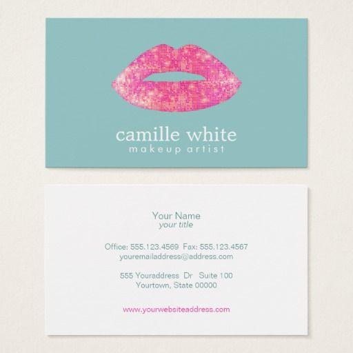Hot pink sequin lips beauty salon cute teal business card pink hot pink sequin lips beauty salon cute teal business card colourmoves