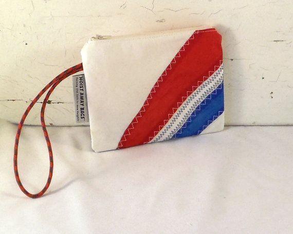 Nautical Purse Nautical Wristlet Small Purse Eco Friendly by Hoist Away Bags, $35.00