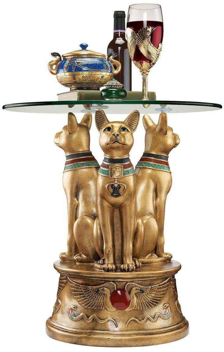 Xoticbrands Ancient Egyptian Basset Cat Sculpture Statue Decorative Occassional Side Table Egyptian Classic Furniture