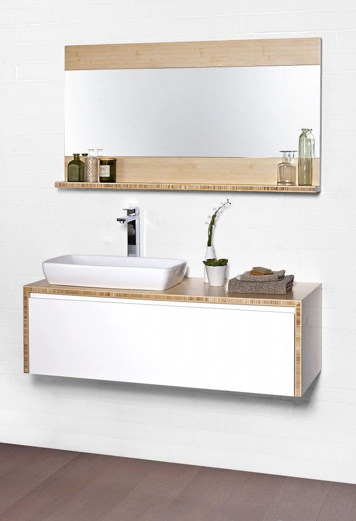 Sustainable and stylish bathroom furniture   Outhouse Reno     Bamboo bathroom inspiration Cibo Eco 900 Wall Hung Vanity Unit and Shelf  Mirror