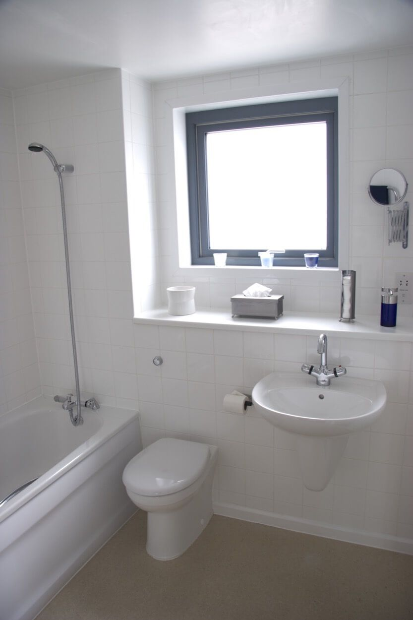 Clean A Bathroom Plans intimate and clean bathroom with wall mounted sink | bathroom