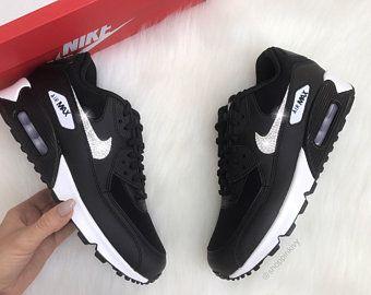 design intemporel 1d052 c45f4 Swarovski Nike Air Max 90 Premium Shoes Black Blinged Out ...