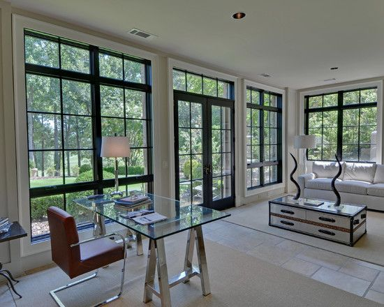 Windows Inspiring Modern Home Office With Neoteric French Window Design Also Hip Desk Glass