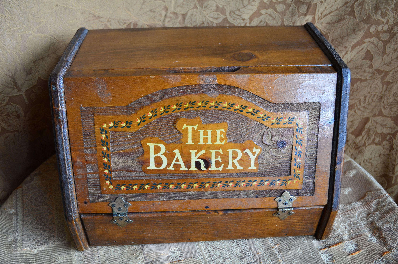 Vintage Bread Box The Bakery Rustic Farmhouse Front Hinged Bread Box Wooden Bread Box Vintage Bread Boxes Wooden Bread Box Rustic