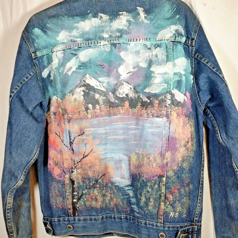 0cbeba49426 Hand Painted Denim Jean Jacket. Jacket is faded and shows wear in some  areas. Approximate length 25