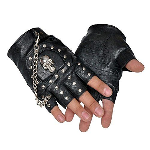 ORVR PU Leather Black Stud Fingerless Biker Punk Gothic Driving Cycling Gloves