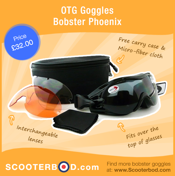 40737e99ed Bobster OTG Phoenix Goggles. Suitable for wearing over the top of glasses.  Anti-fog interchangeable lenses. Perfect for tackling the weather while  riding ...