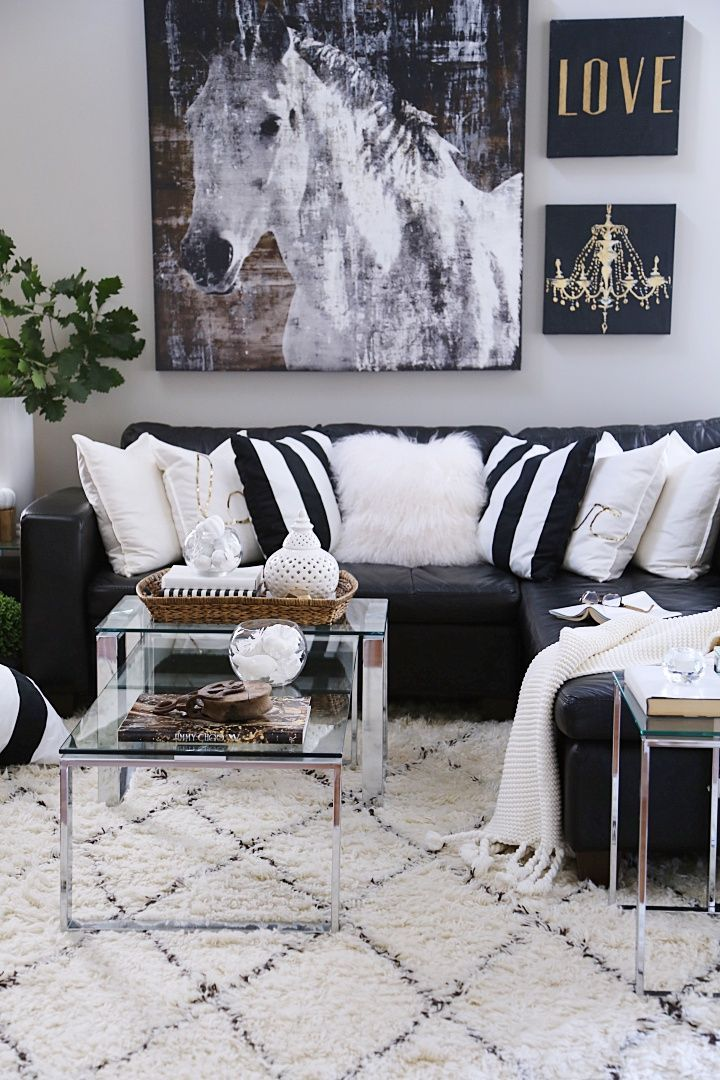 15 Cozy and Neutral Fall Decorating Ideas  Loving these neutral glam family room decorating ideas for Fall Cozy Moroccan shag are rug vase o