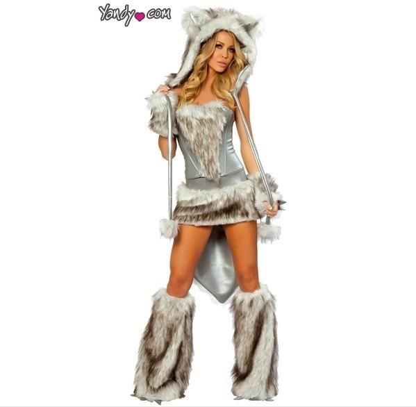 c3e648e76c89 Halloween big gray wolf uniform costume cat women's long sexy party costume
