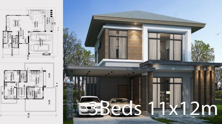 Home Design Plan 11x12m With 3 Bedrooms Home Ideas Home Design Plan House Design My House Plans