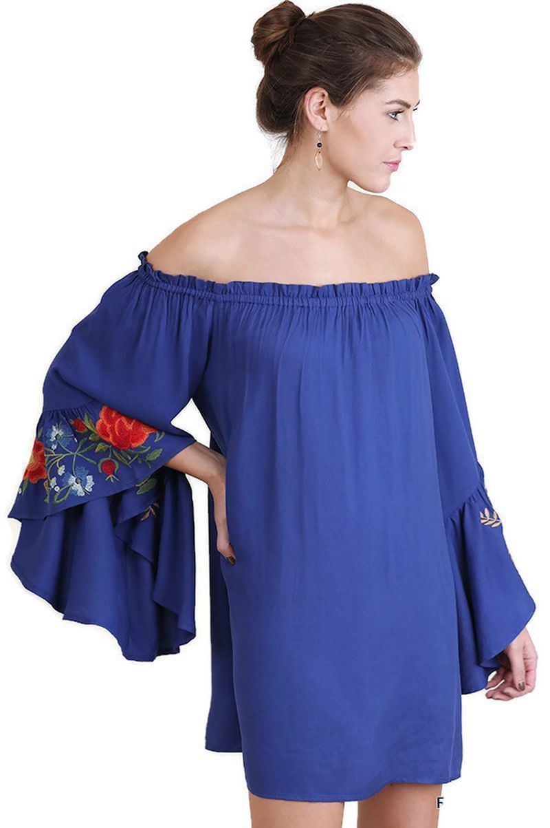 5504665f085674 Floral Embroidered Bell Sleeve Mini Dress, Royal Blue in 2019 | My ...