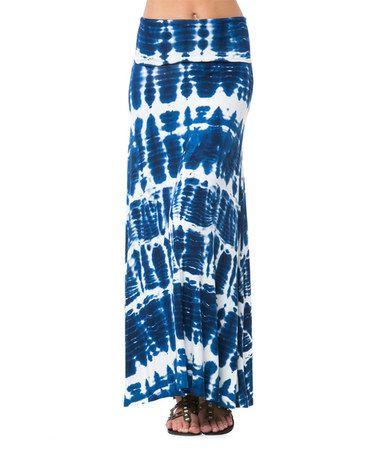 Navy & White Tie-Dye Maxi Skirt #zulily #zulilyfinds