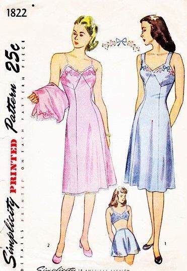 1940s Pin Up Style Lingerie Slips Panties Pattern SIMPLICITY 1822 ...