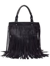 Fashion Black Fringe PU Womens Tote Bag