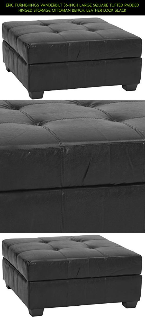 Epic Furnishings Vanderbilt 36 Inch Large Square Tufted Padded Hinged Storage Ottoman Bench Leather Look Black Racing Ping Kit Tech Fpv