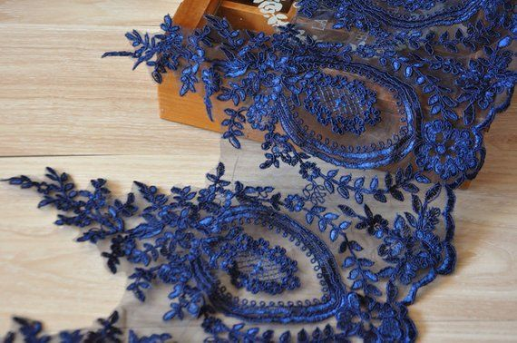 249f3bd014dc4 1 yard Lace Trim Navy Blue Embroidery Flower Floral Alice Venice ...