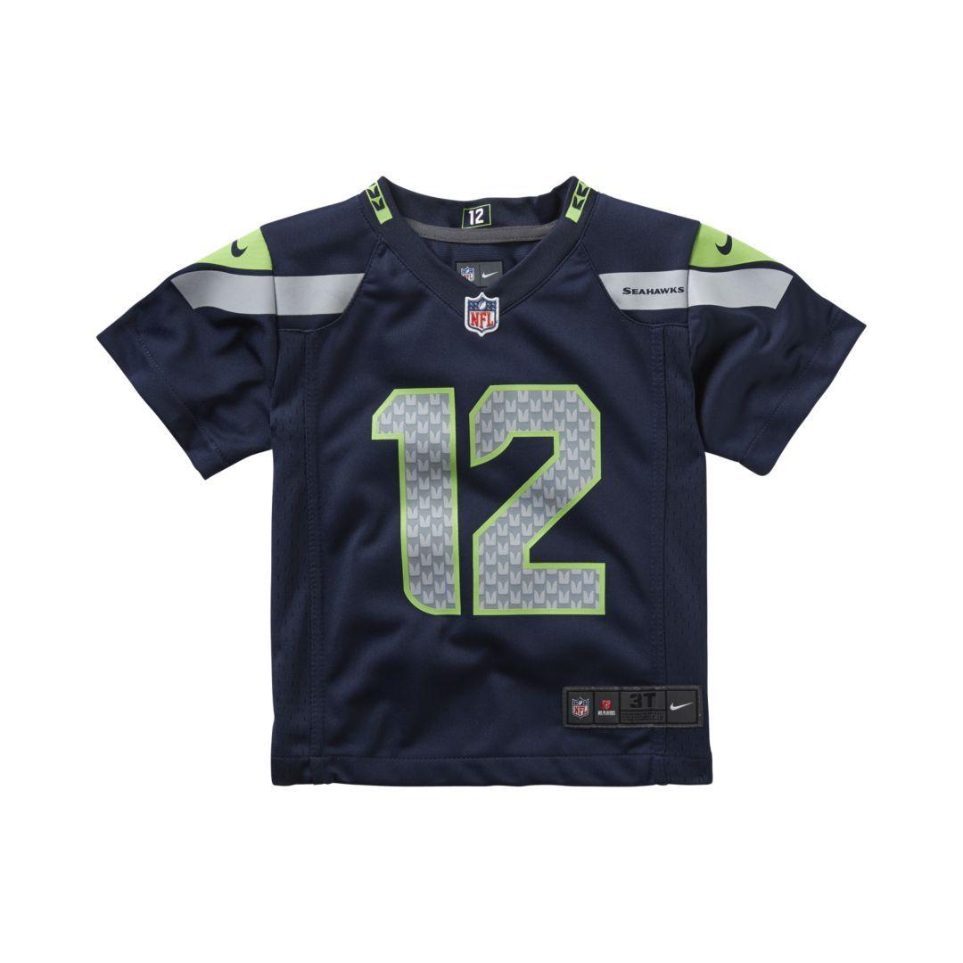 Nfl Seattle Seahawks Fan 12 Toddler Kids Football Home Game Jersey Size 2t Blue Football Kids Seahawks Fans Nfl Seattle