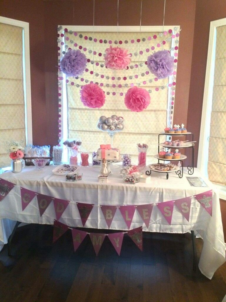 First Communion sweet table for girls