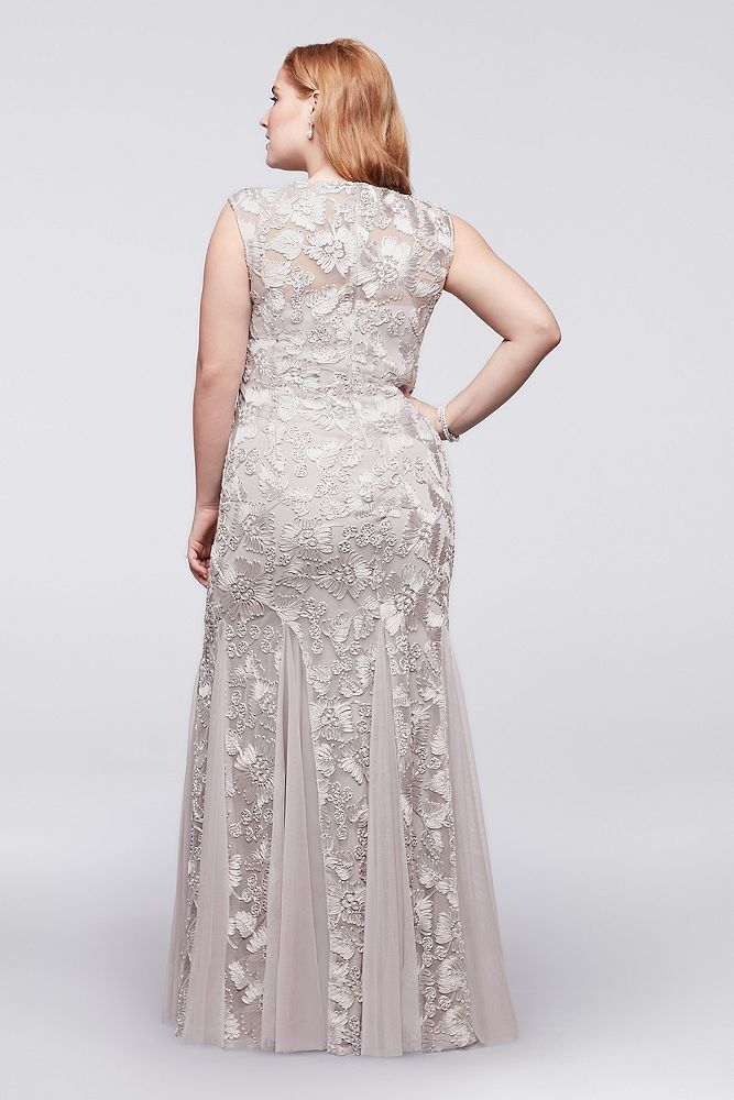 b94b9522049 Embroidered Tulle Plus Size Dress with Cap Sleeves Style 417152 ...