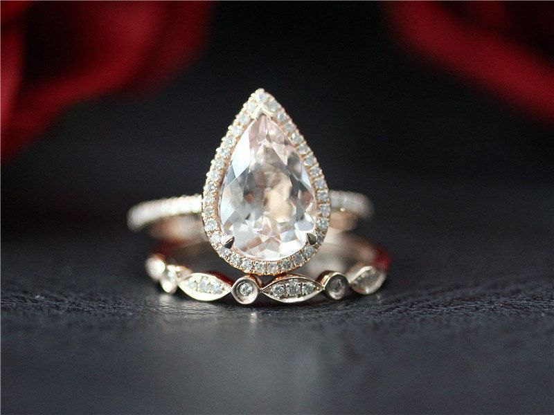 Halo 8x12mm Pear Cut Morganite Engagement Ring & Wedding Band