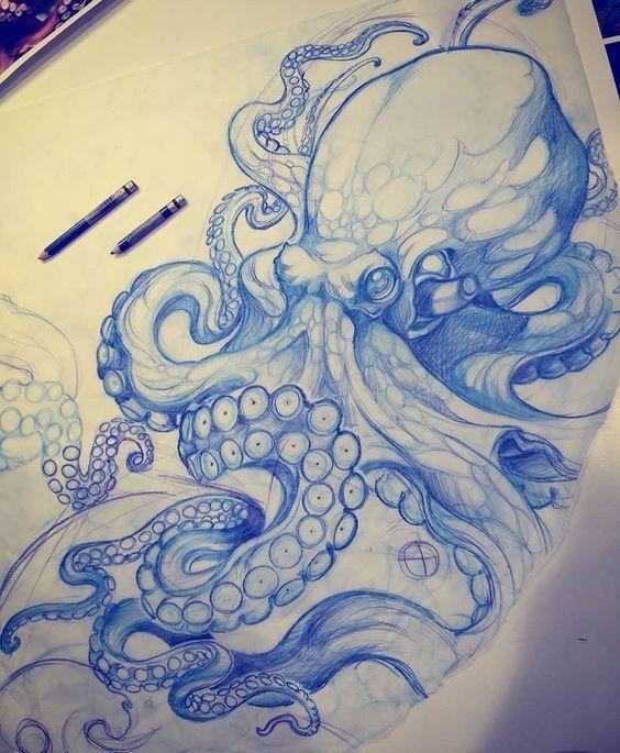 Zeichnung Octopus Tattoo Seabed Rib, Shore, Arm, Bein Pen Bic … #octopus #seabed #shore #tattoo #zeichnung