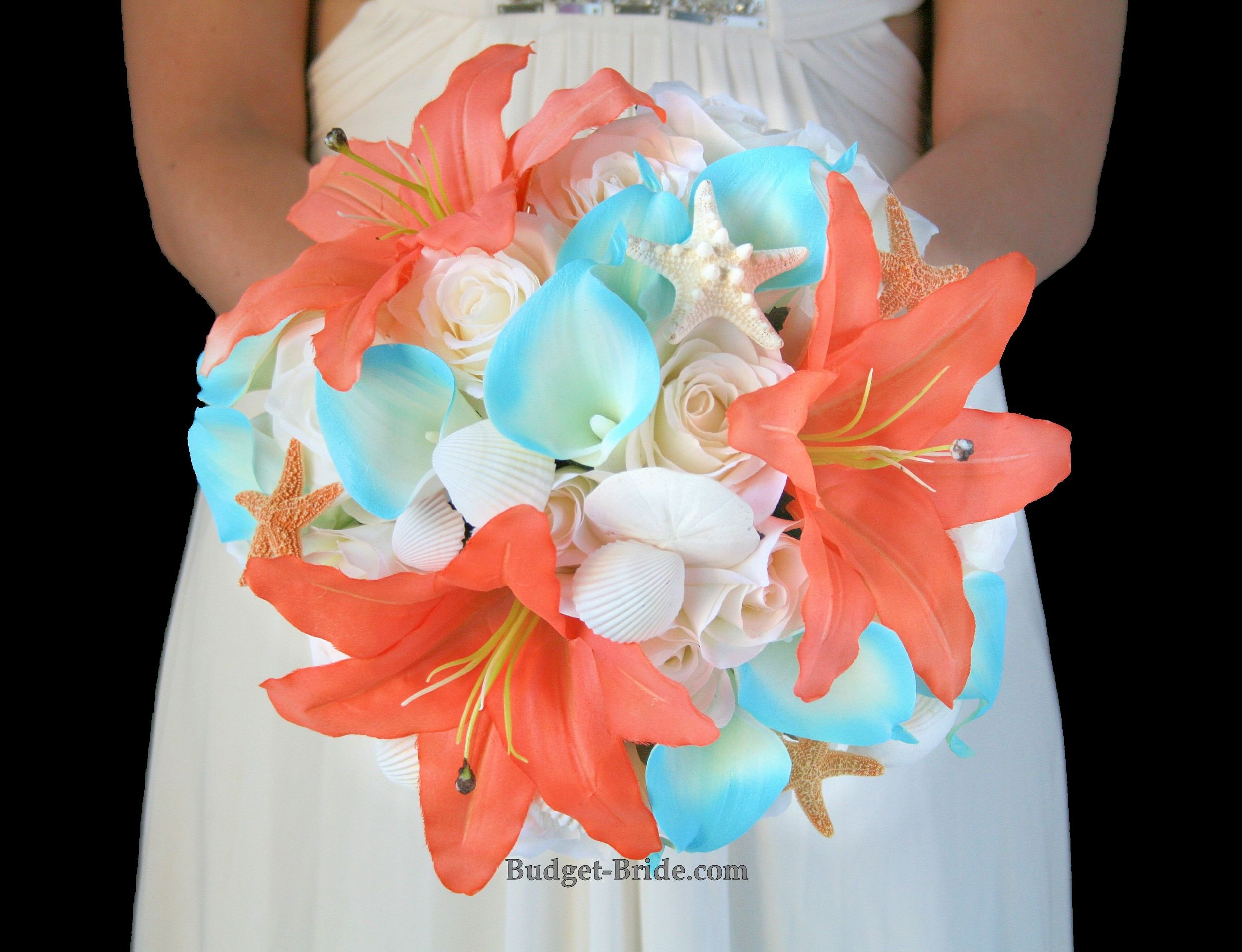 Beach Theme Silk Wedding Flower Bouquet Accented With Seashells