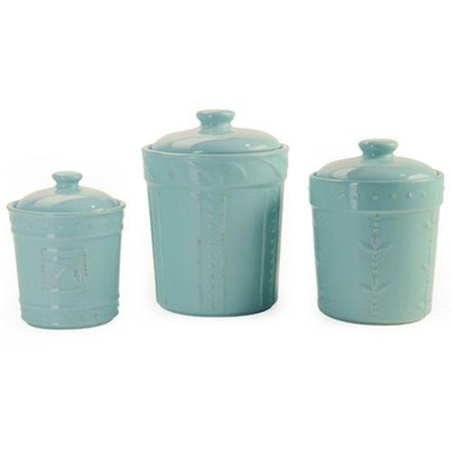light blue dorothy 3 piece kitchen canister jar set fleur de lis