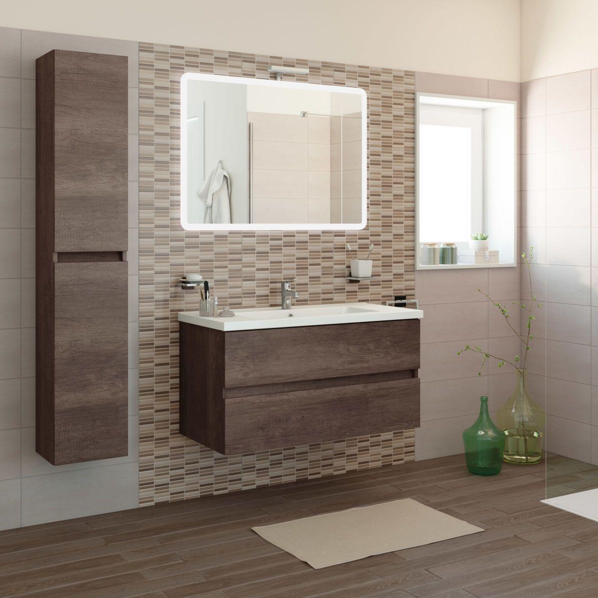 Mobile bagno kora rovere scuro l 101 cm bagno stanza da for Mobili bagni prezzi