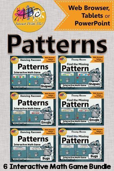 Patterns Interactive Math Games {Dancing Raccoon} BUNDLE   Pinterest ...
