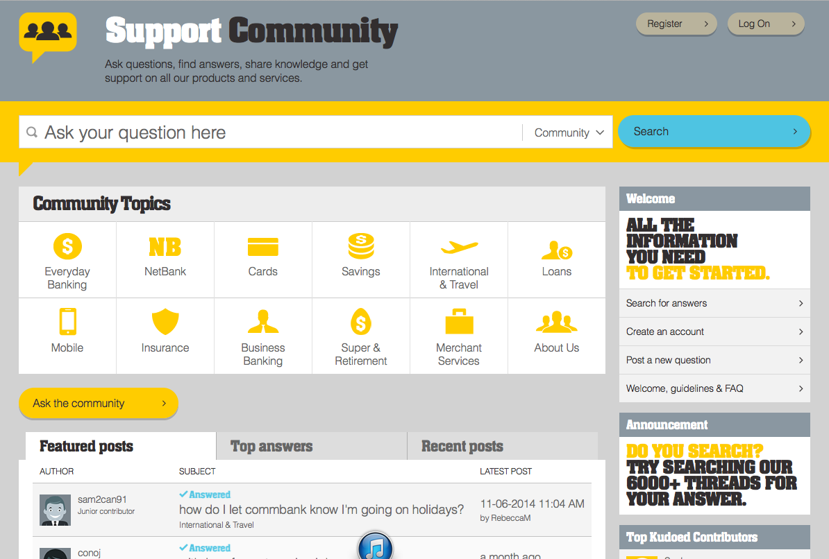 Lithium Commbank community top page. Online