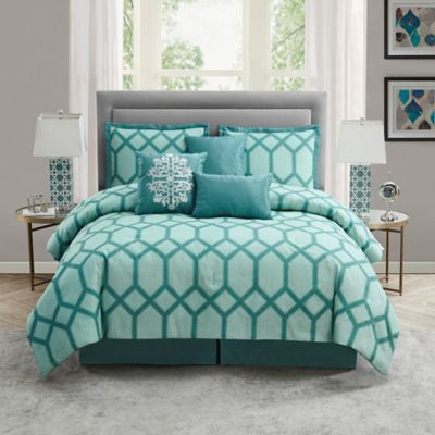 855c66f78fc1a8 Nadia 7-Piece California King Comforter Set In Blue | Products ...
