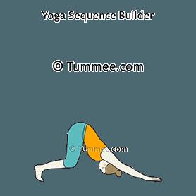 downward facing dog pose variation knees bent yoga adho