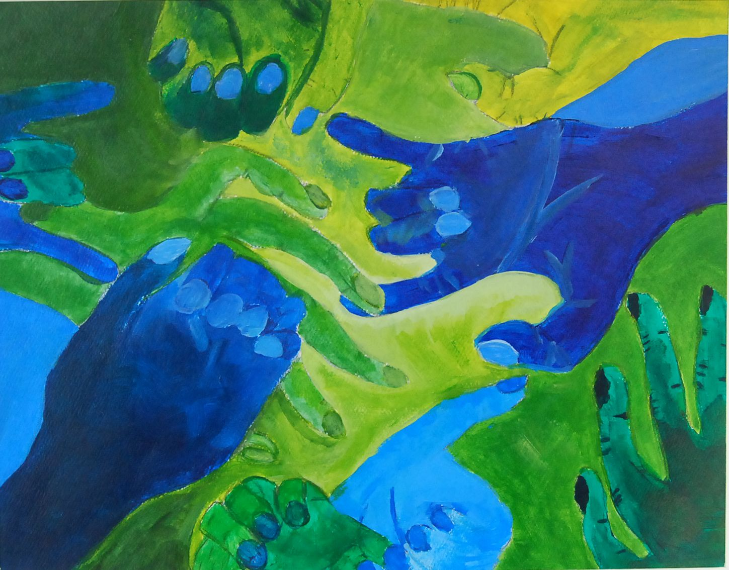 This Painting Of Analogous Colors Is Very Beautiful And They Accent Each Other Greatly Green Blue Or Yellow Are The Used