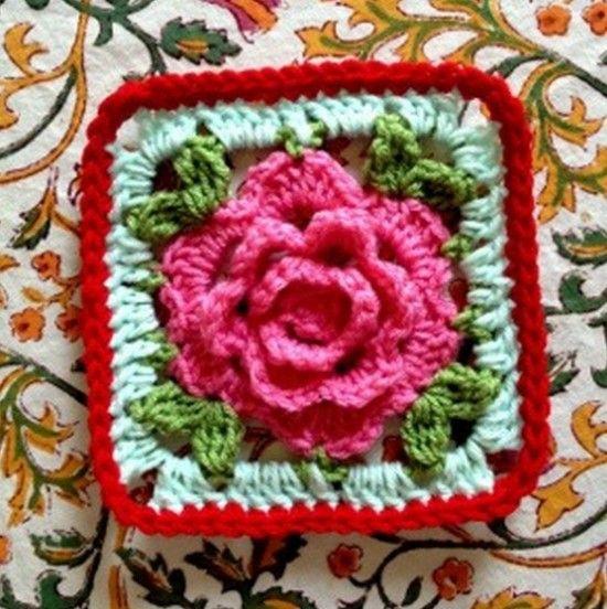 Rose Granny Square Blanket Free Pattern | Häkeln, Sterne und Wolle