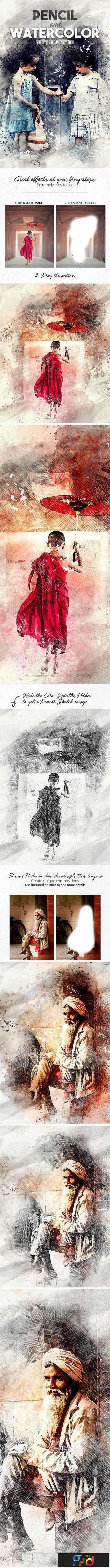 1808005 Pencil n Watercolor Photoshop Action 19586973