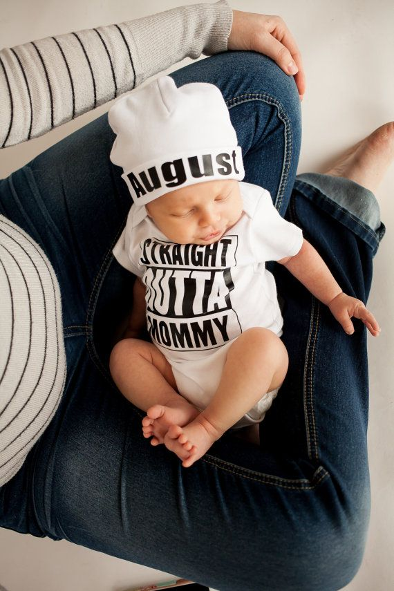 Baby Boy Take Home Outfits,Newborn Baby Boy Outfit,Newborn Baby Boy Clothes,Funny shirt Straight Outta Mommy